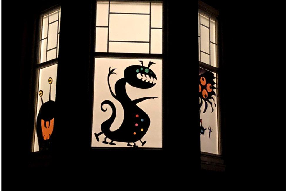 Monster window art