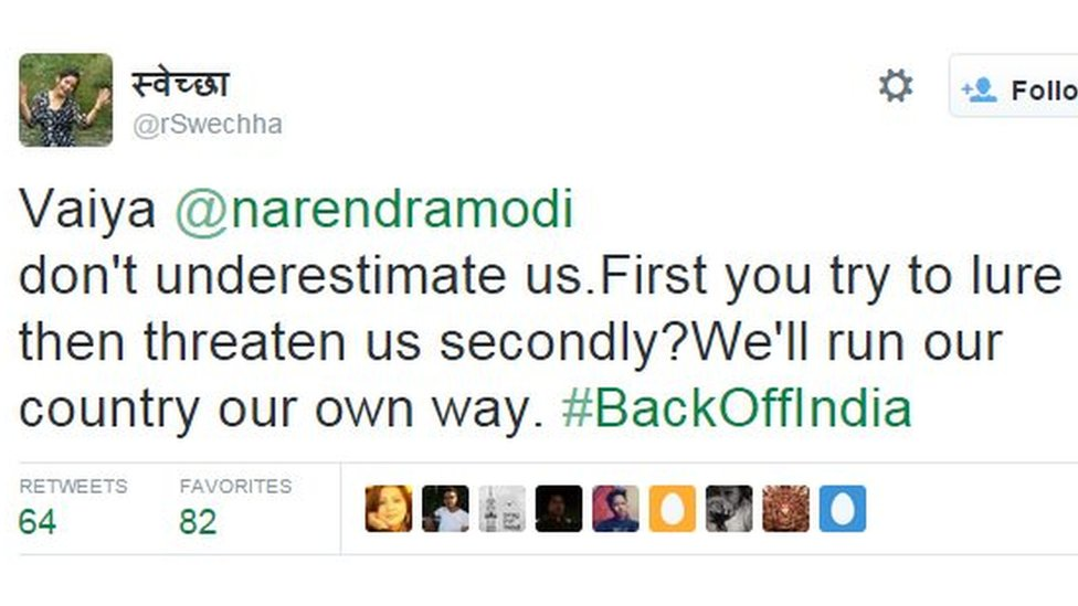 Vaiya @narendramodi don't underestimate us.First you try to lure then threaten us secondly? We'll run our country our own way. #BackOffIndia