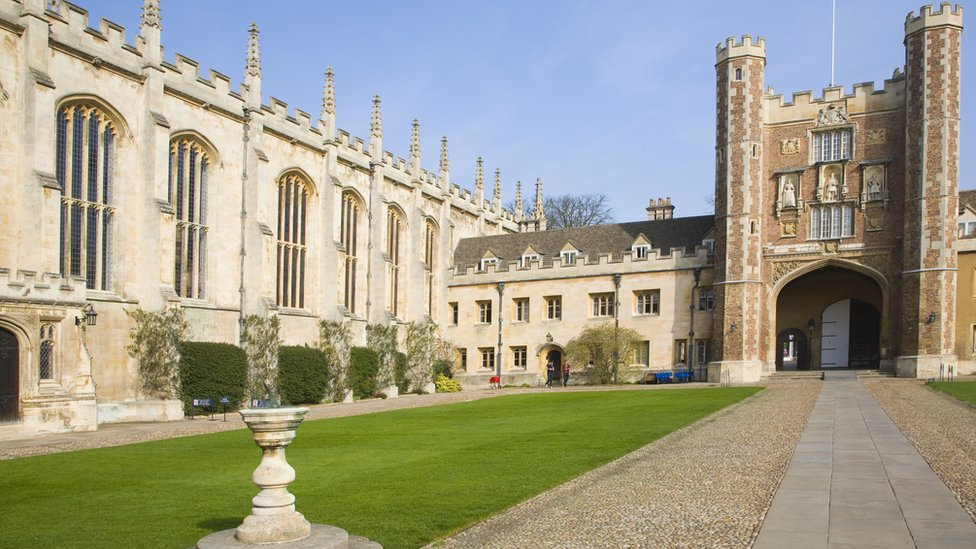 Trinity College courtyard, University of Cambridge, Cambridgeshire, England