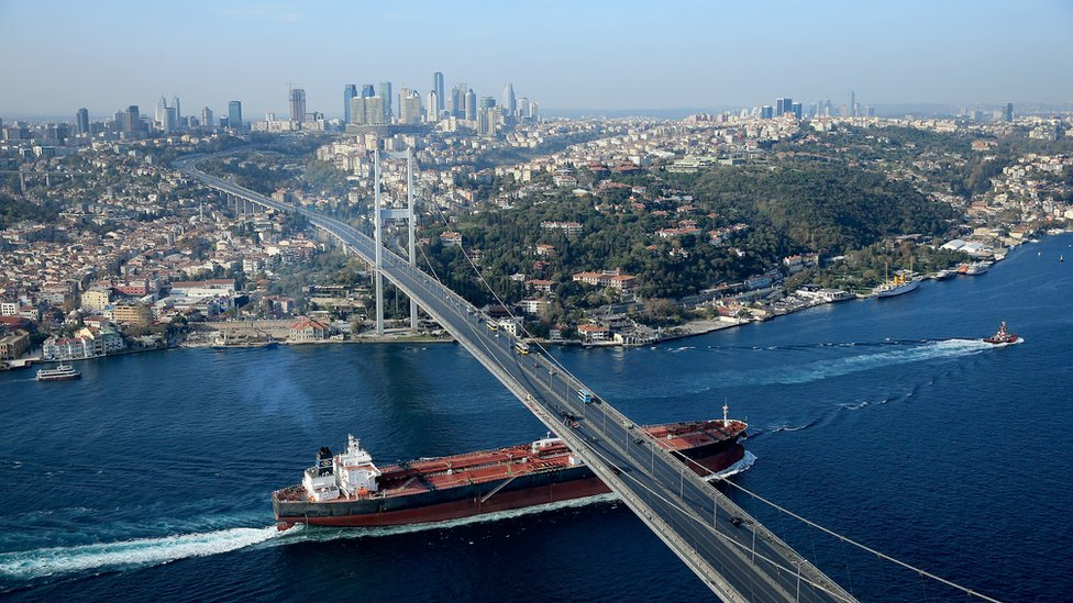 Istanbul's iconic Bosphorus Bridge links Asia and Europe