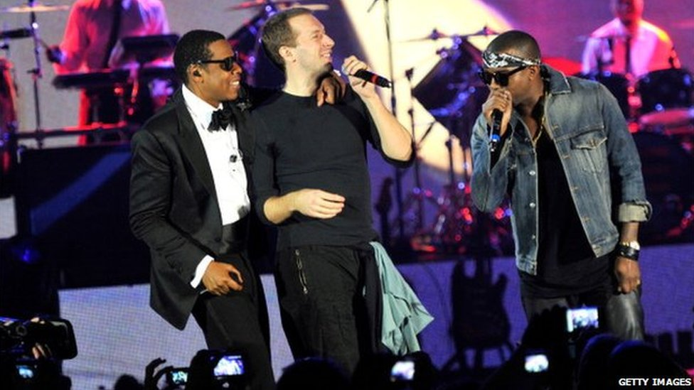 Jay Z (left), Chris Martin and Kanye West