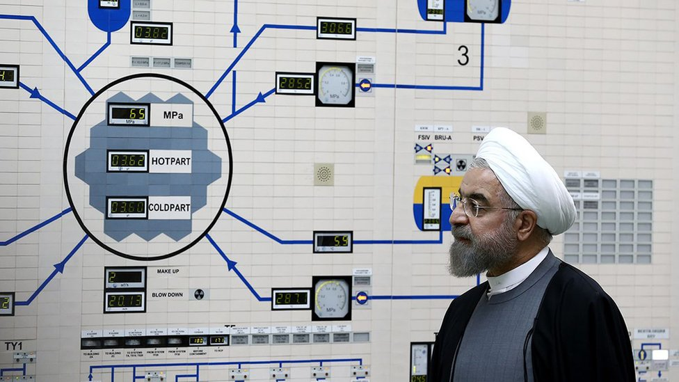 President Rouhani pictured in a nuclear plant