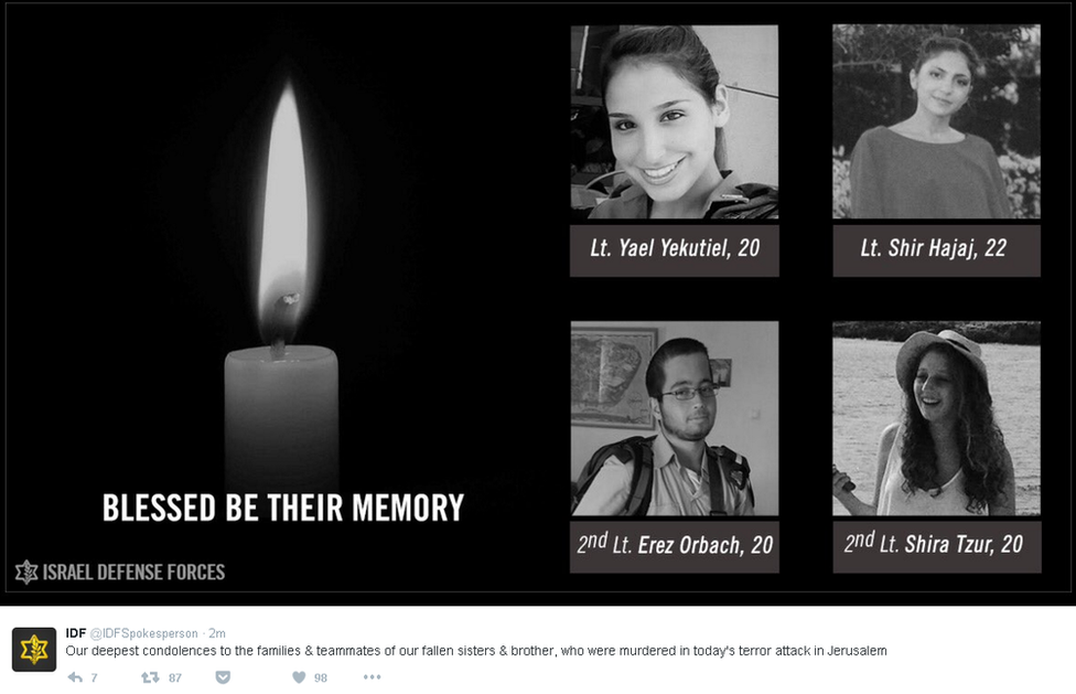 """Screengrab of IDF tweet showing pictures of four soldiers who died and saying: """"Our deepest condolences to the families and teammates of our fallen sisters and brother, who were murdered in today's terror attack in Jerusalem."""""""
