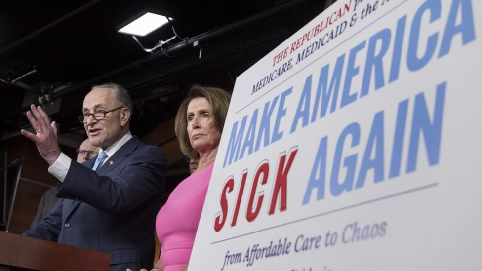 "Democrats mocked Mr Trump's campaign slogan to ""Make America Great Again"""