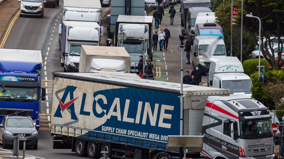 Lorry queues at the entrance to the port in Dover