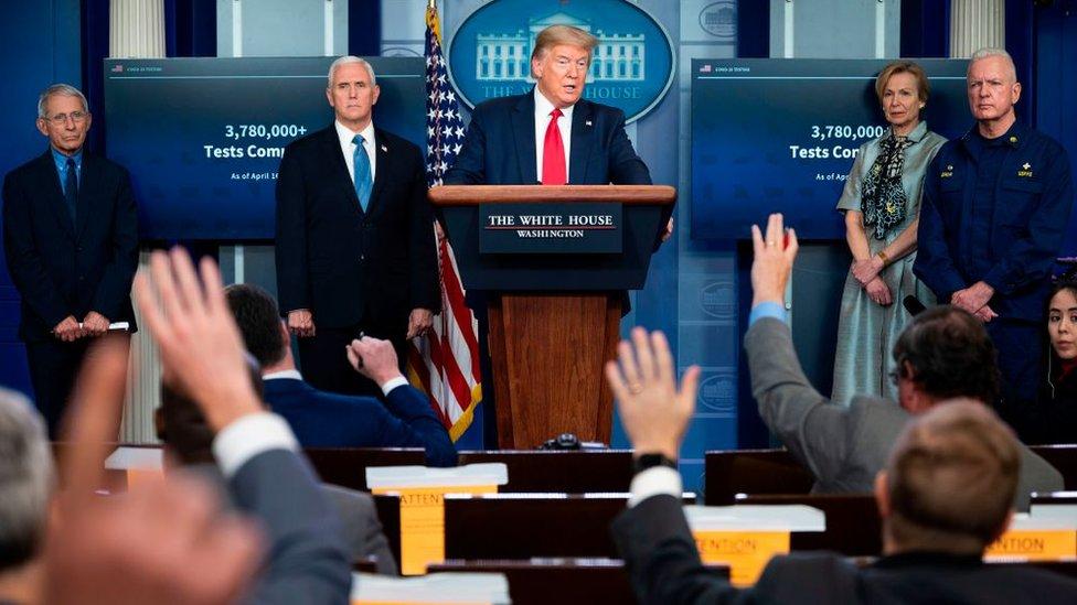 Trump durante una rueda de prensa en la Casa Blanca.