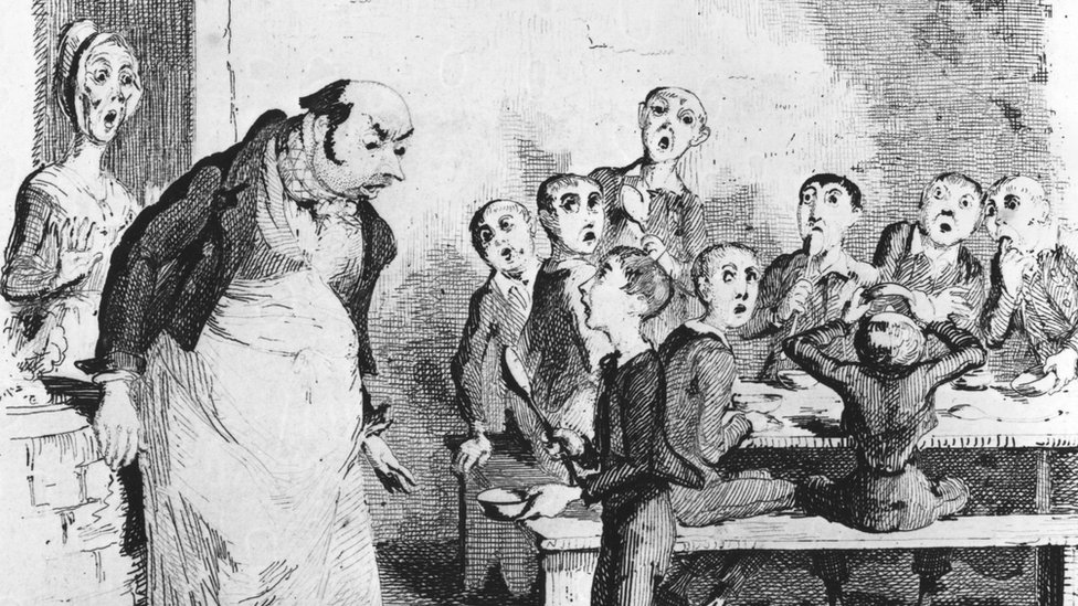 A scene from Oliver Twist 1838 illustration by George Cruikshank