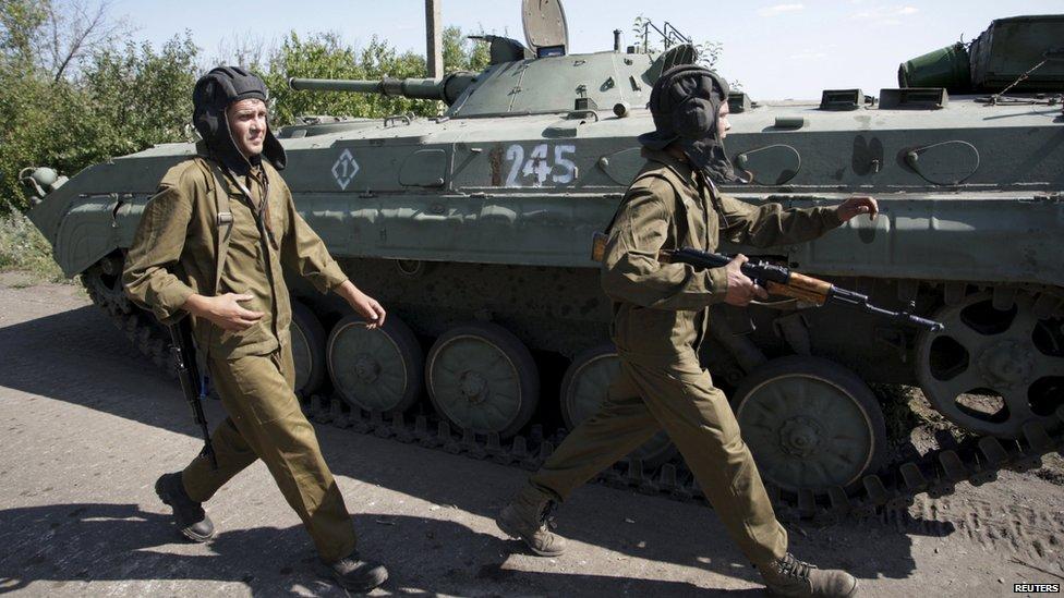 Donetsk rebel mechanised unit troops