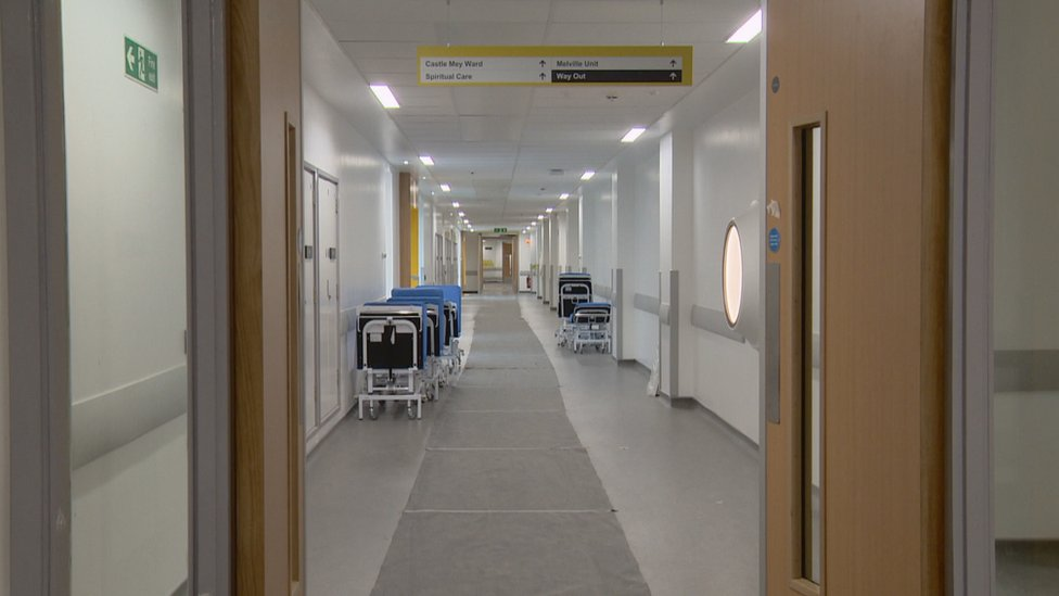 The corridors of the new hospital will remain empty for some time