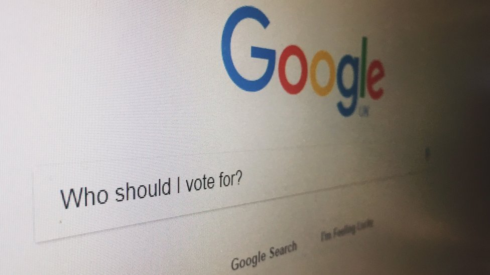 """A Google search box with the question """"Who should I vote for?"""""""