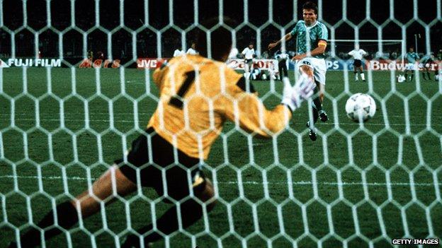 Lothar Matthaus scores his penalty past Peter Shilton