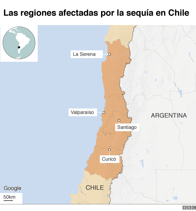 Mapa regiones sequía Chile.