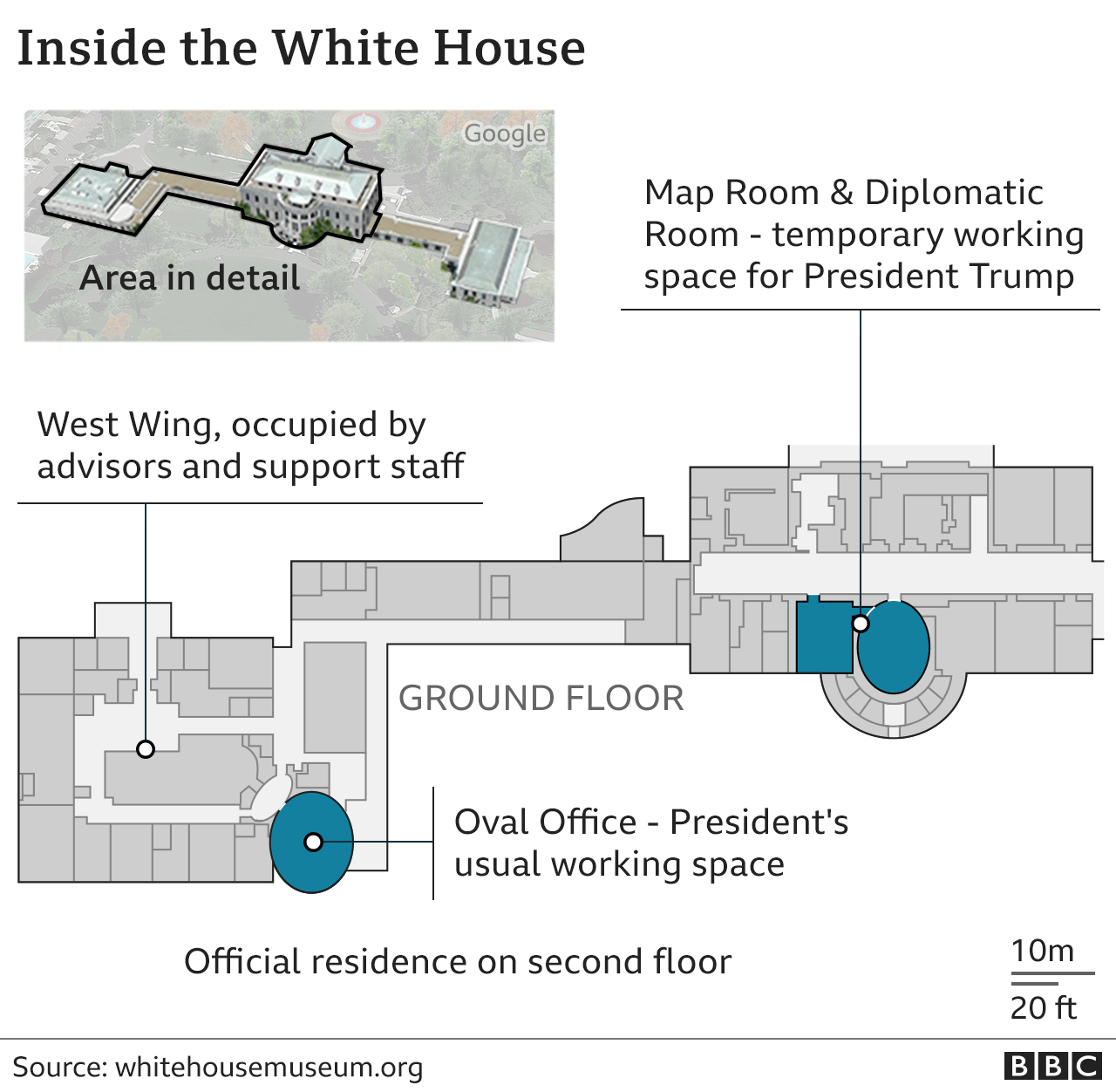 Plan of the White House, showing the location of the Residence and the Oval Office