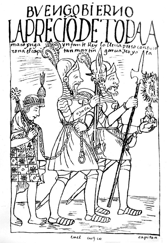Dibujo de un inca encadenado siendo arrastrado por dos españoles