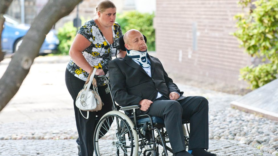 Alan Knight previously arrived at Swansea Crown Court in a wheelchair