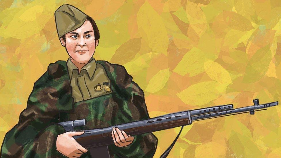 An illustration of Lyudmila Pavlichenko, a Soviet sniper