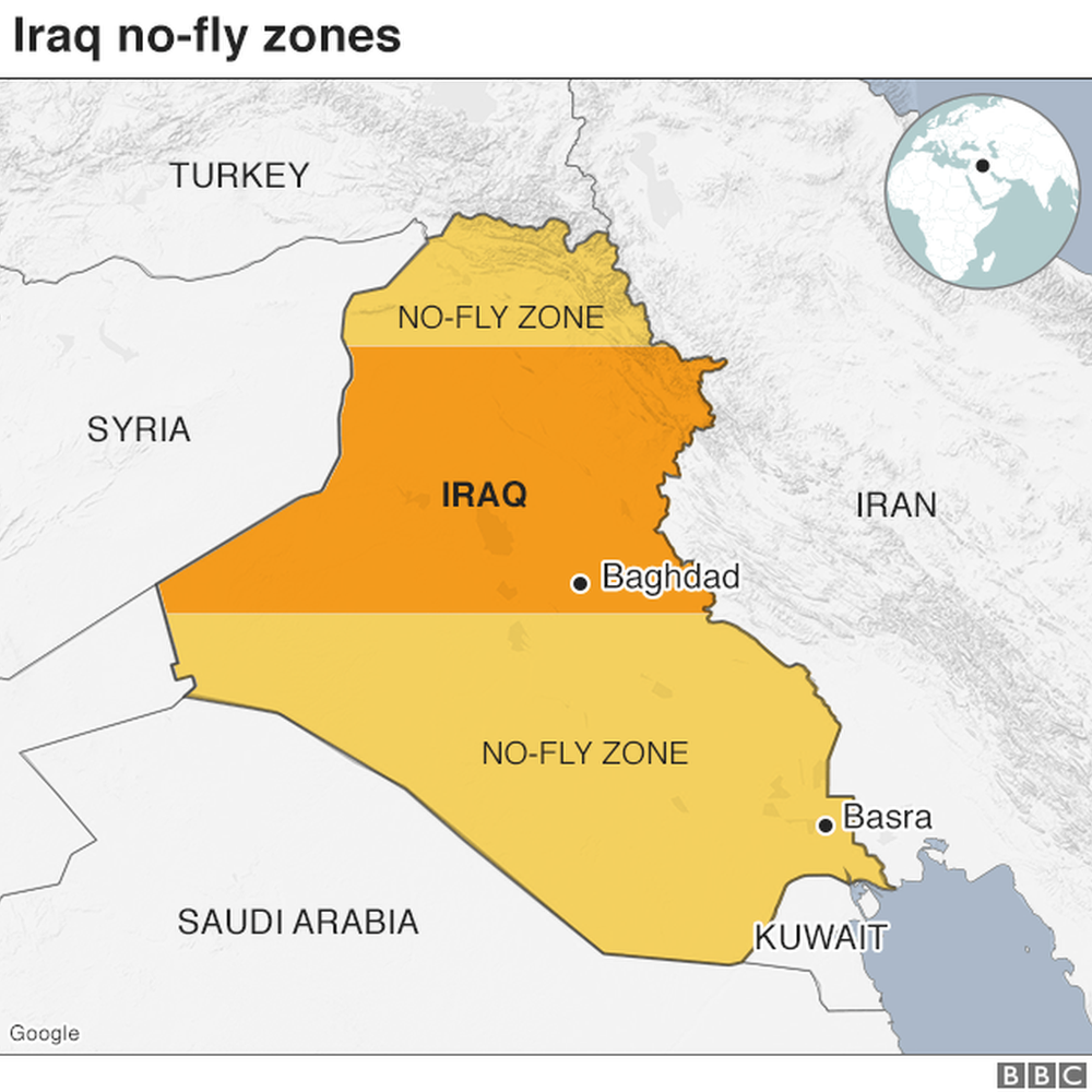 Map showing no-fly zones in Iraq following the 1991 Gulf War