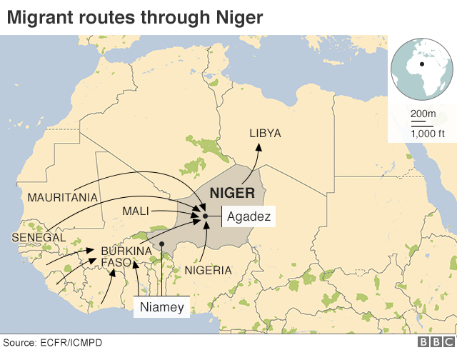 Map showing migrant routes through Niger