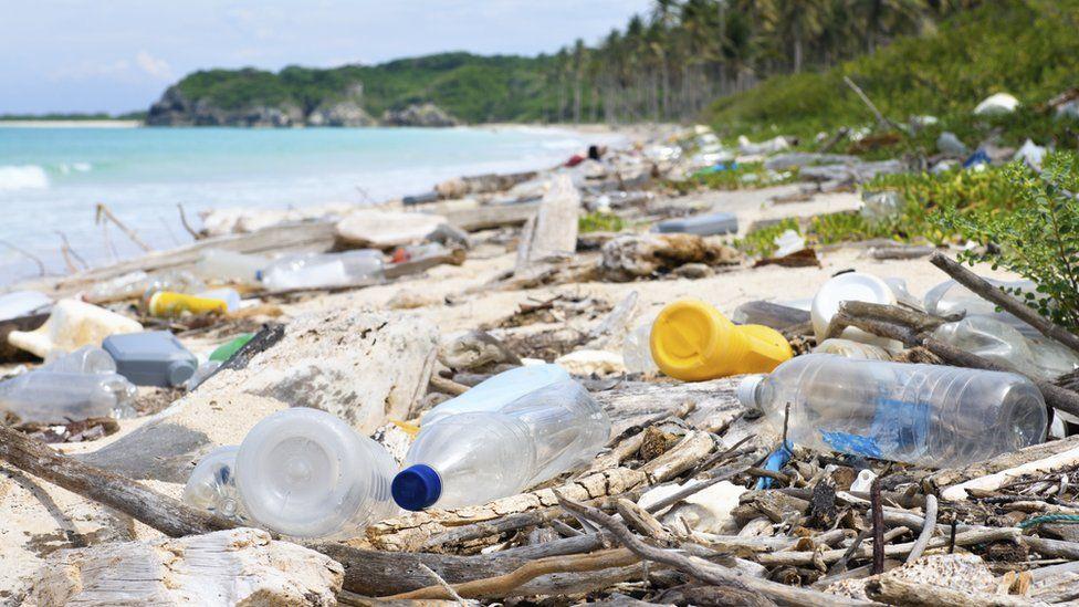 Botellas y otros residuos de plástico en una playa