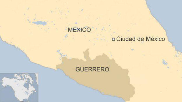 Mapa de México con Guerrero señalado.