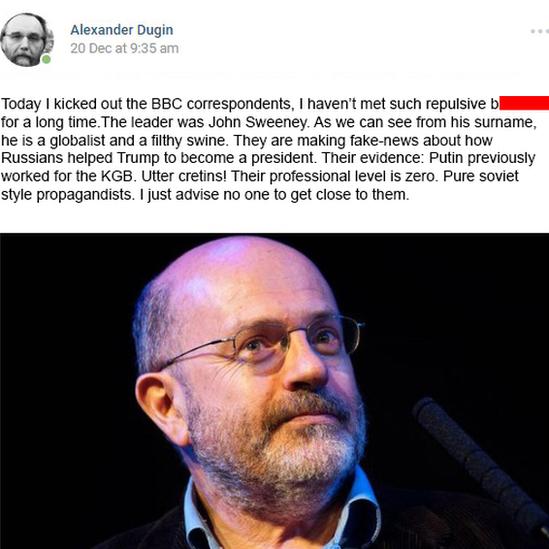 Dugin blog post criticising John Sweeney