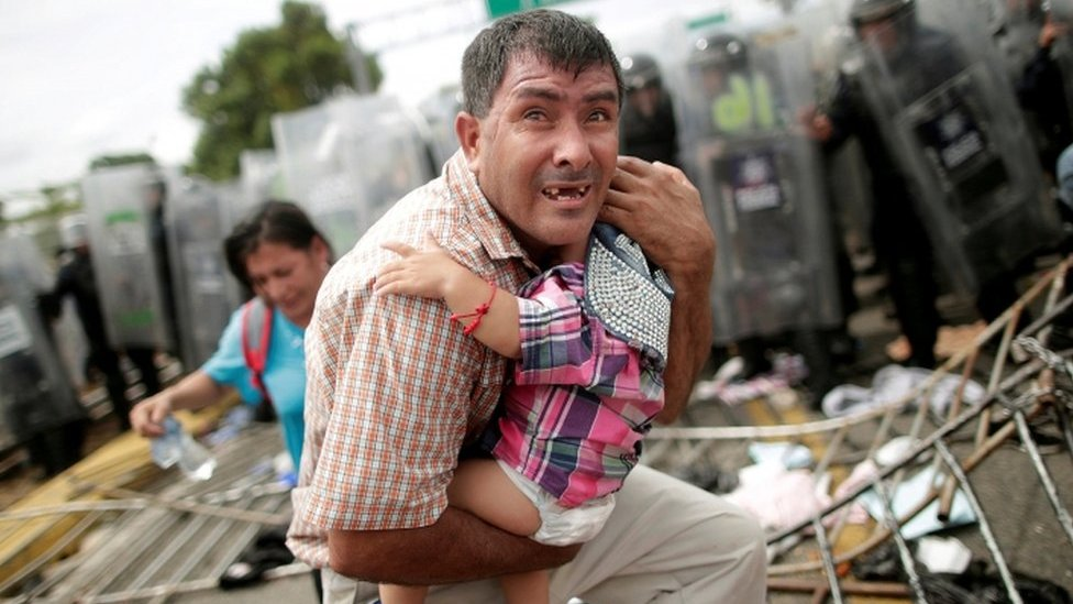 Families tear gassed at Mexico border