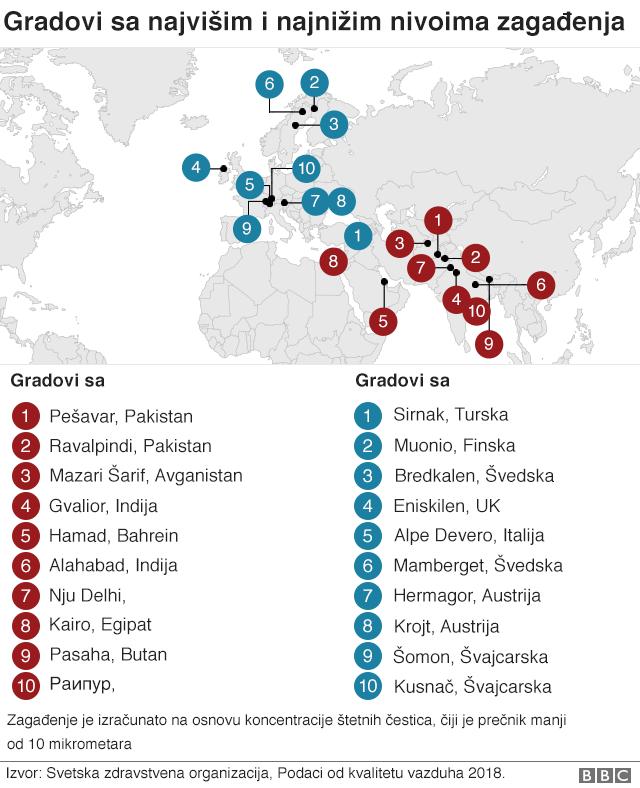Mapa - gradovi sa najvišim i najnižim nivoima zagađenosti vazduha