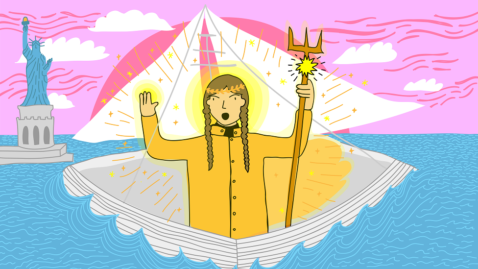 Illustration of Greta Thunberg as Antigone, crossing the Atlantic
