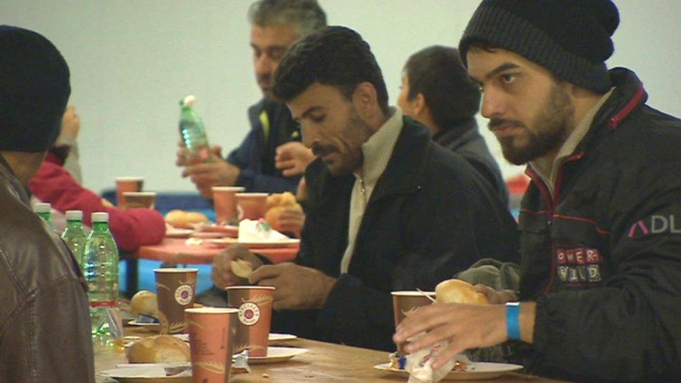 Asylum seekers in hostel