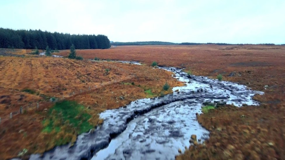 Aftermath of peat bog slide in County Donegal