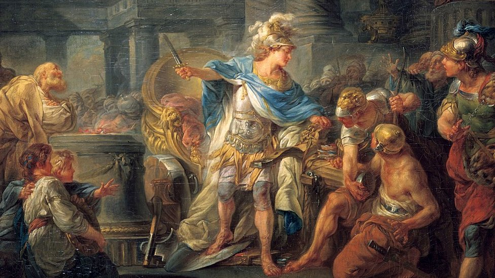 Alejandro Magno corta el Nudo Gordiano, de Jean-Simon Berthélemy (1743-1812)