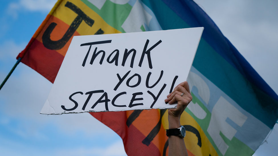 Cartel de `` Gracias Stacey ''