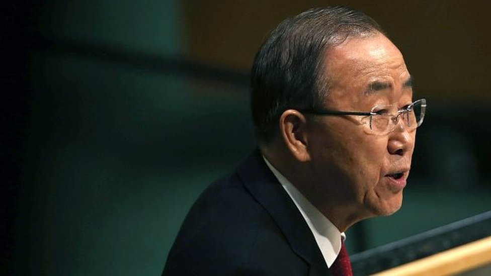 United Nations Secretary General Ban Ki-moon delivers opening remarks at the United Nations General Assembly at U.N. headquarters on September 28, 2015 in New York City.