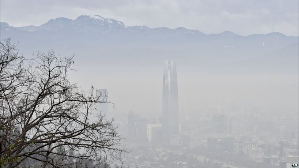 View of Santiago de Chile City covered by smog on 21 June, 2015