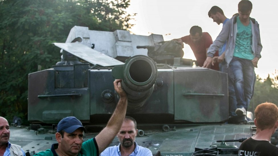 Civilians, as those here on the Bosphorus bridge, helped defy the coup last year