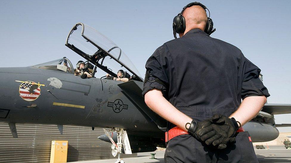 Un cazabombardero F-15 en Afganistán.
