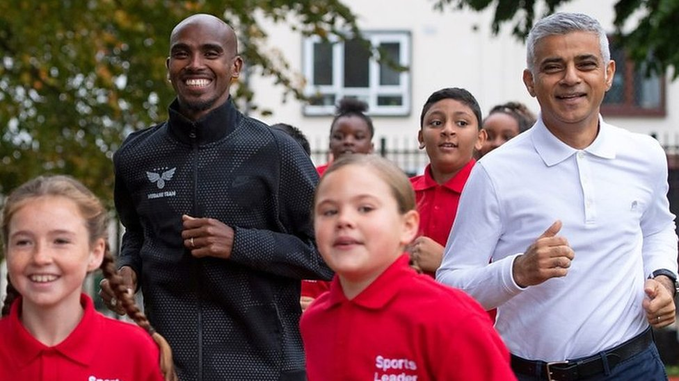 Sir Mo Farah races Sadiq Khan to inspire kids to get active