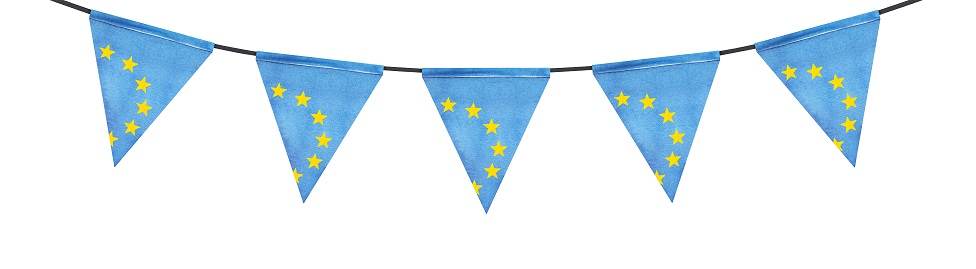 Bunting made out of EU flags