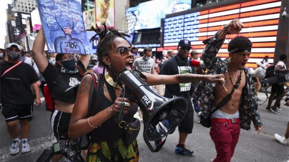 Una protesta en Nueva York por el caso de Jacob Blake