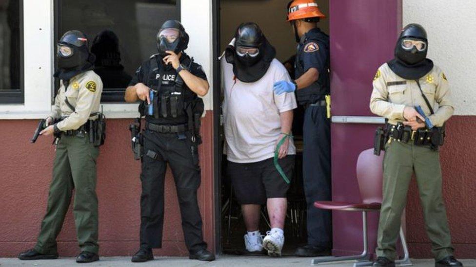 تدريب في مدرسة في لوس انجليس يستهدف التأكد من الاستعداد في حالة وقوع هجمات.