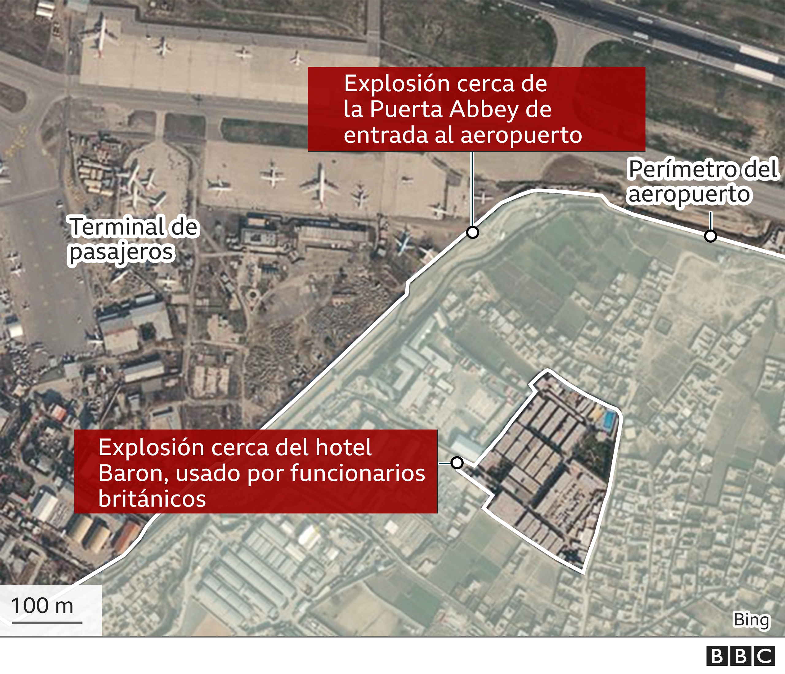 Mapa de Kabul que muestra el lugar de las explosiones