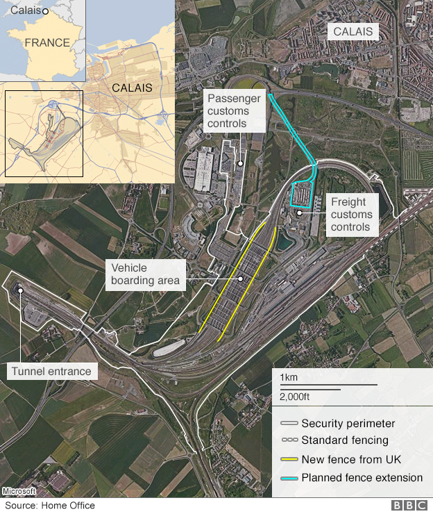 Satellite image marking the perimeter of the Eurotunnel site in Calais