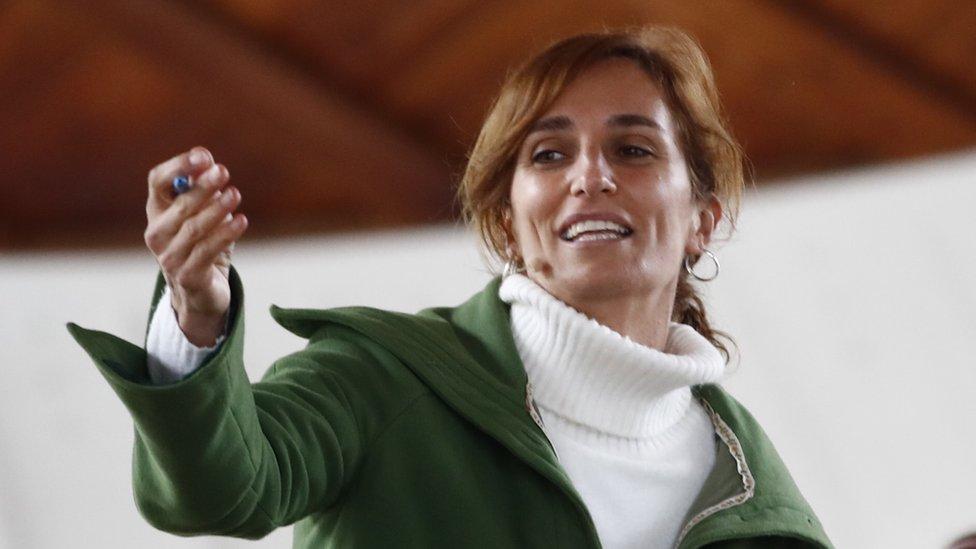 Mónica García, candidata de Más Madrid, en un acto de campaña electoral en Madrid