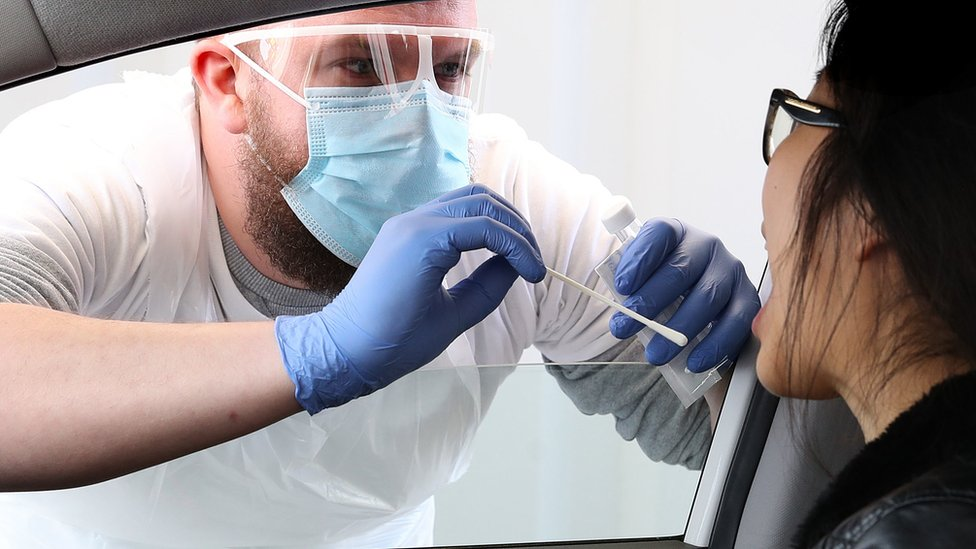 Person tested in their car for coronavirus