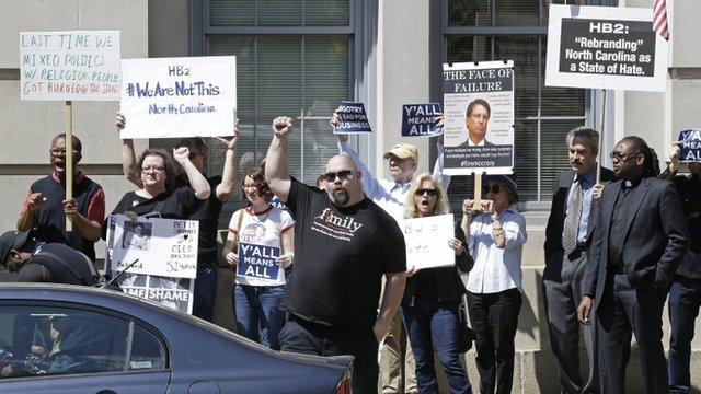Protests in North Carolina over 'bathroom law'