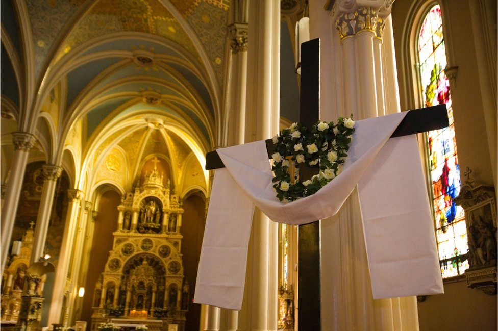 Church nave decorated for Easter