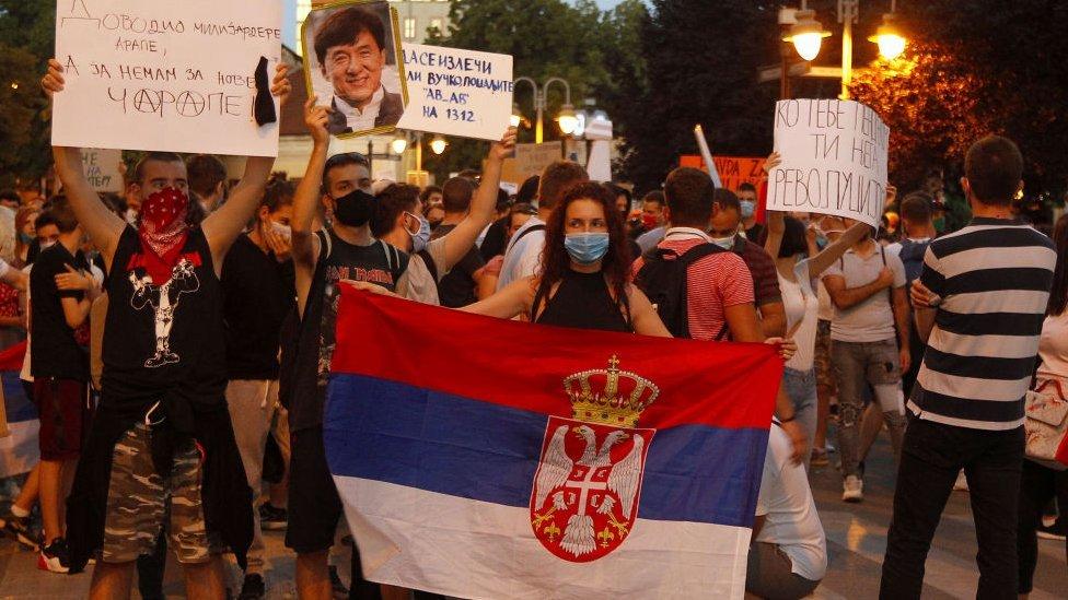 Protesta anticorrupción en Serbia.