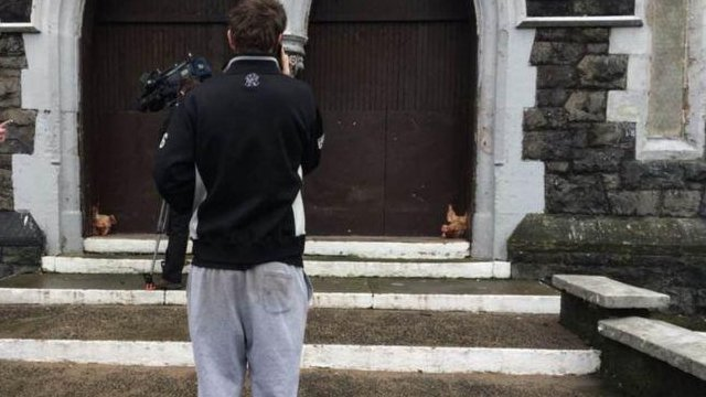 Pigs' heads left outside church