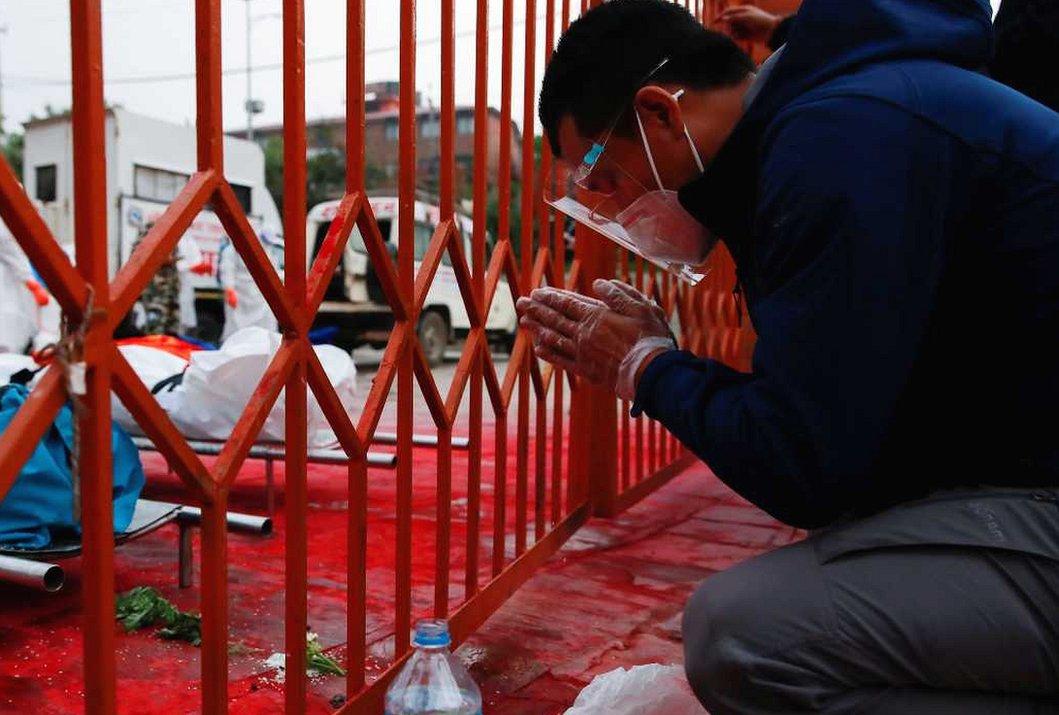 Man praying in Kathmandu