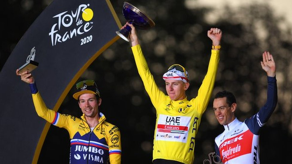 Tadej Pogacar (centre), Primoz Roglic (left) and Richie Porte (right) celebrate on the podium after the end of the 2020 Tour de France